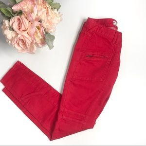 Free People Red Zipper Jeans